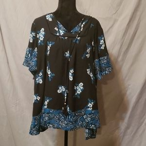 Business Casual Black with blue and white flowers